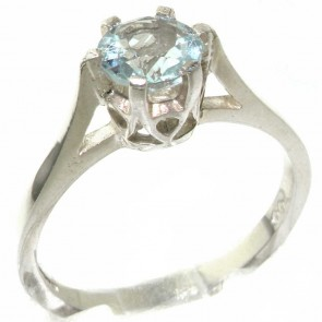 Sterling Silver Genuine Natural Aquamarine Solitaire Ring