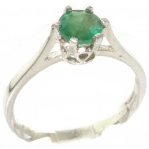 Sterling Silver Genuine Natural Emerald Solitaire Ring