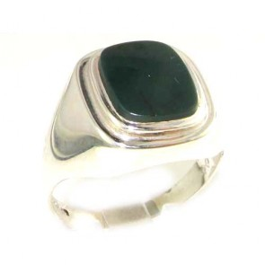 Sterling Silver Natural Bloodstone Mens Mans Signet Ring, Made in England