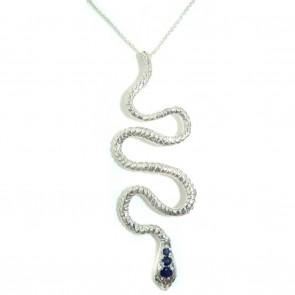 9ct White Gold Natural Sapphire & Emerald Detailed Snake Pendant Necklace