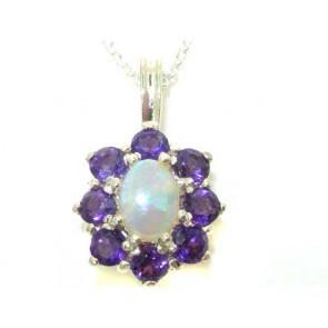 Sterling Silver Ornate Large Natural Fiery Opal and Amethyst Cluster Pendant Necklace
