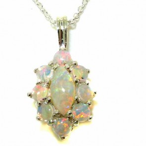 Sterling Silver Natural Opal Cluster Pendant Necklace