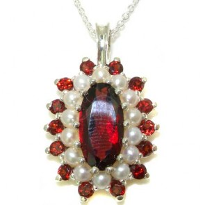 9ct White Gold Natural Large Garnet & Pearl 3 Tier Cluster Pendant Necklace
