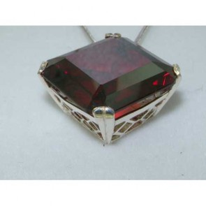 Sterling Silver Large Square Octagon cut 41ct Synthetic Garnet Pendant Necklace