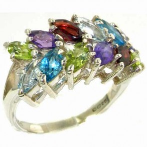 Sterling Silver Natural Vibrant Multi Gemstone Large Womens Ring