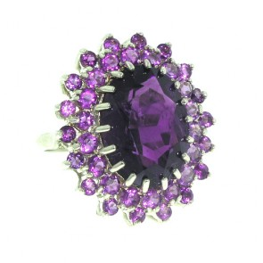 9ct White Gold Large Amethyst Cluster Ring