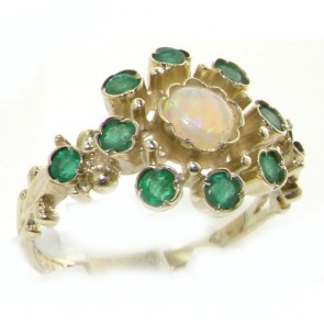 9ct White Gold Ladies Vintage Style Opal & Emerald Ring